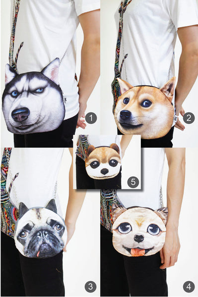 DOG 3D printed shoulder bag-Long chain strap
