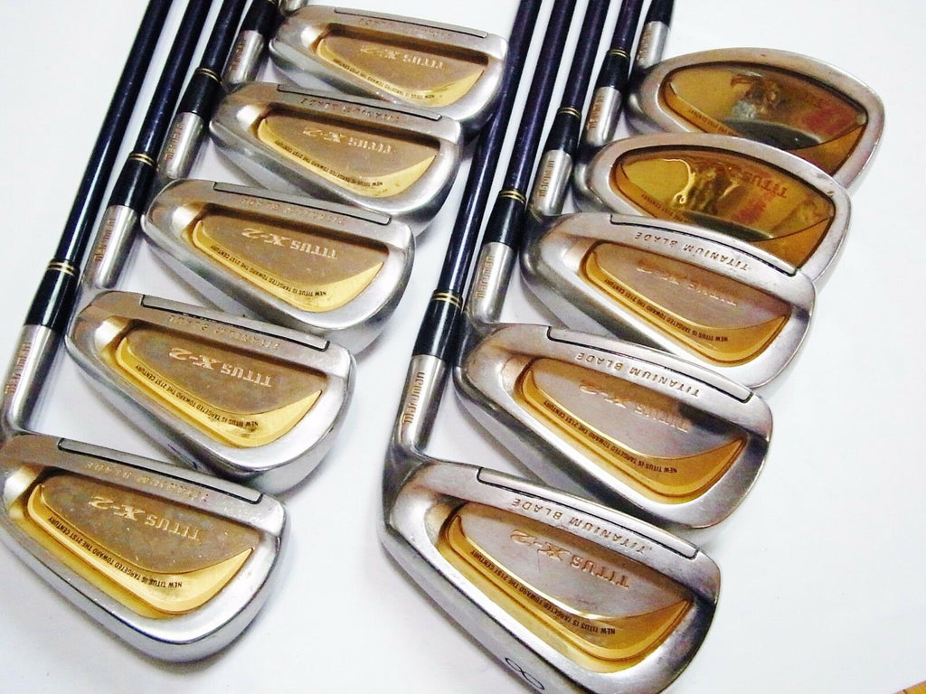 BEAUTIFUL GOLD Perfect 10pc MARUMAN Titus X-2 R-flex IRONS SET Golf Clubs
