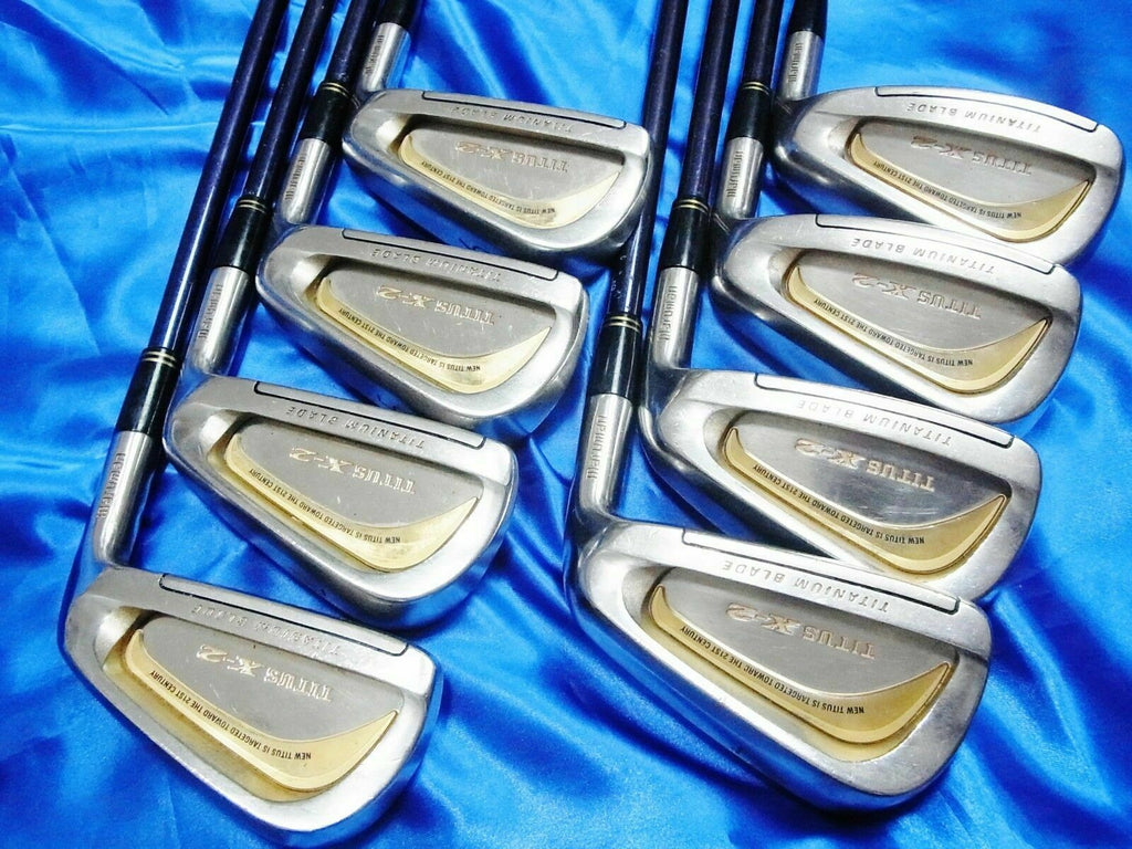 8PC BEAUTIFUL GOLD MARUMAN TITUS X-2 R-FLEX IRONS SET GOLF CLUBS MAJESTY