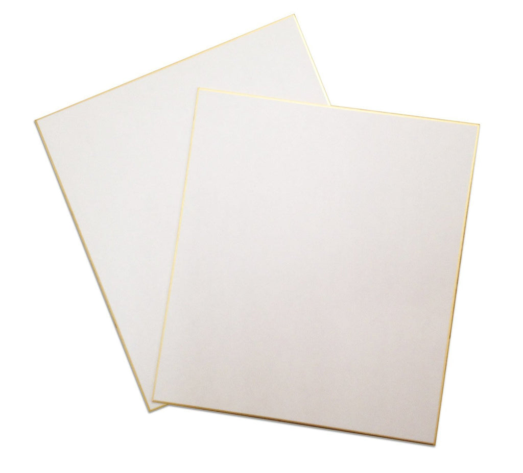 "Japan Art Shikishi Board Set of two 9.5 x 10.75"" Gold Bordered for Japanese Art or Calligraphy (Pack of 2)"