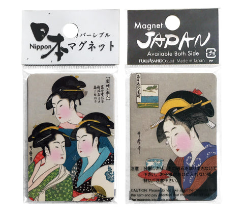 Two Ukiyoe Magnets with Four Images of Bijin and Actors [2 Magnet set] - The Japan Shop