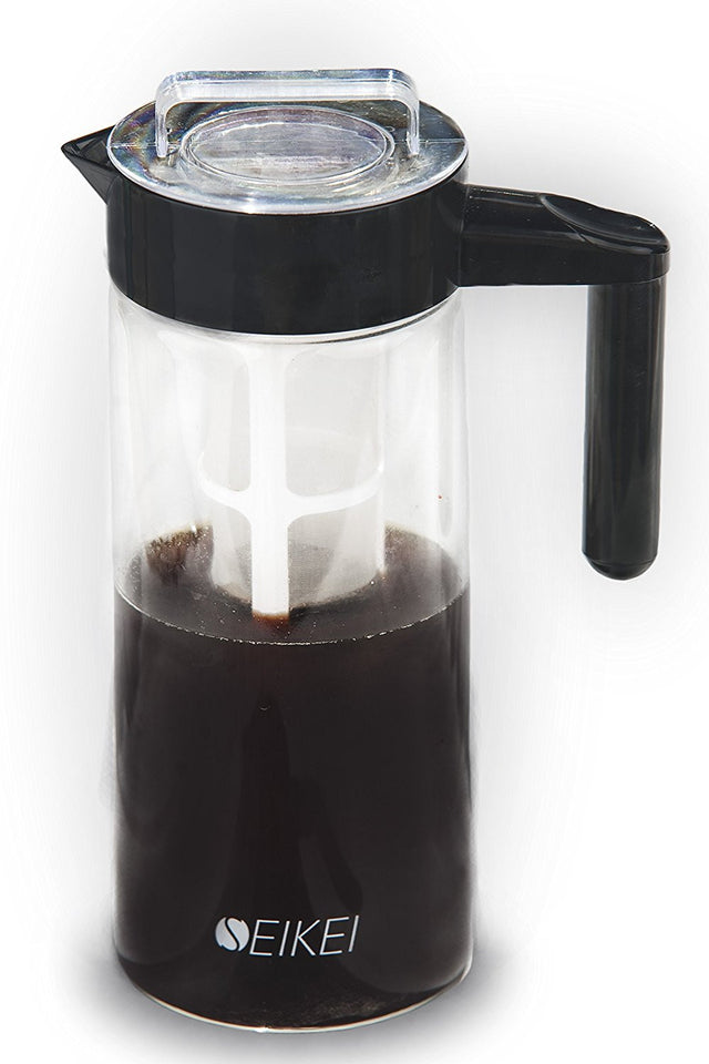 SEIKEI Original Cold Brew Coffee Maker for Iced Coffee, Tea, and Fruit Infused Water, Glass Pitcher with Coffee Filter and Extra Fruit Infuser Filters, 44 Ounce Capacity - The Japan Shop