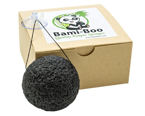 Black Konjac Sponge With Activated Charcoal - Facial Cleanser - All Natural Fiber - Environmentally Friendly + Suction Cup with Hook and Attached String - The Japan Shop
