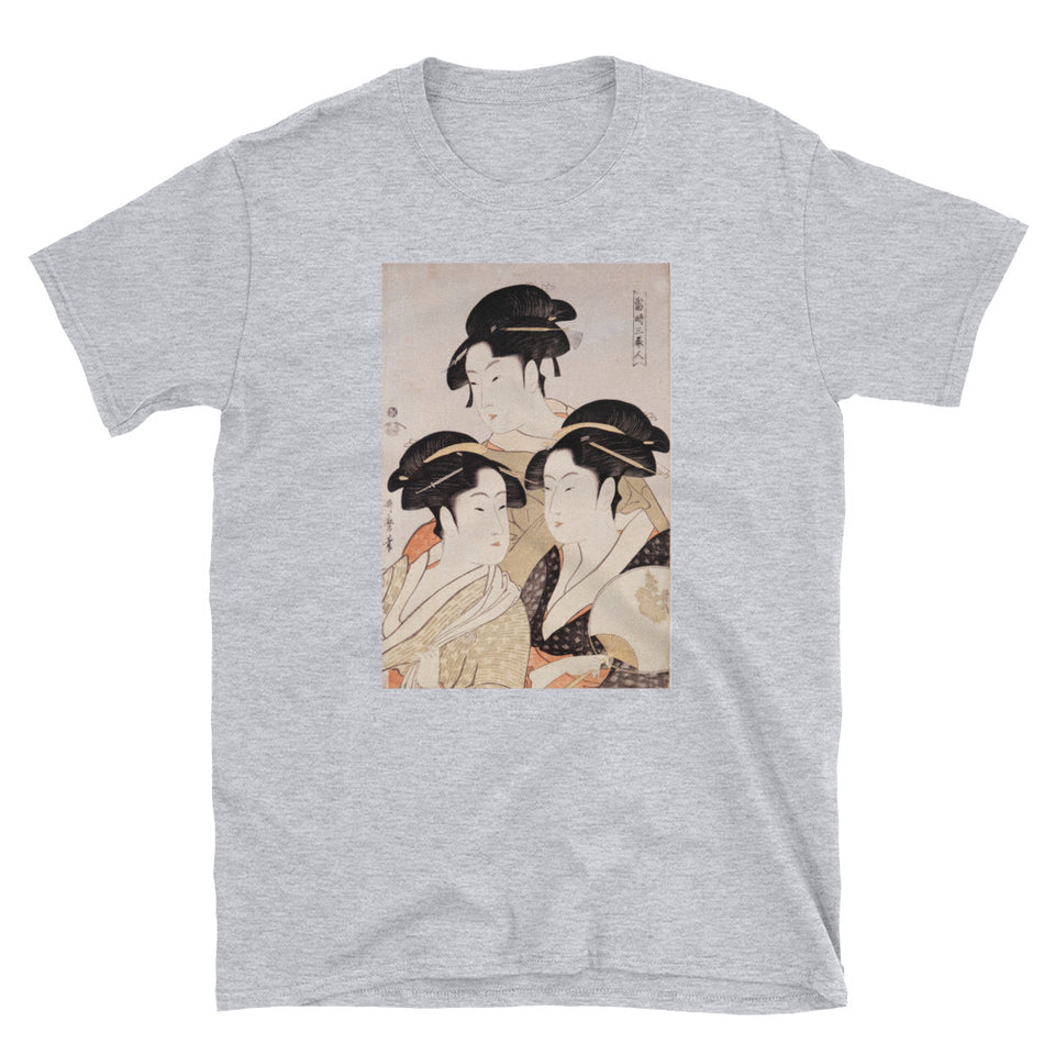 Utamaro Ukiyoe Japanese Art Three Bijin Short-Sleeve Unisex T-Shirt