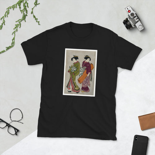 Ukiyo-e of a Geisha and servant by Kitao Shigemasa Short-Sleeve Unisex T-Shirt