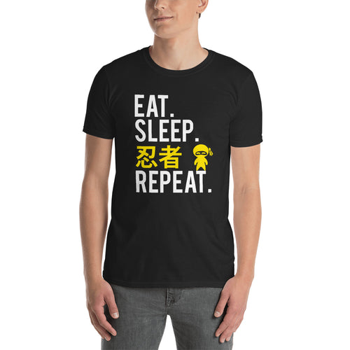 Eat Sleep Ninja in Japanese Repeat Funny Short-Sleeve Unisex T-Shirt - The Japan Shop