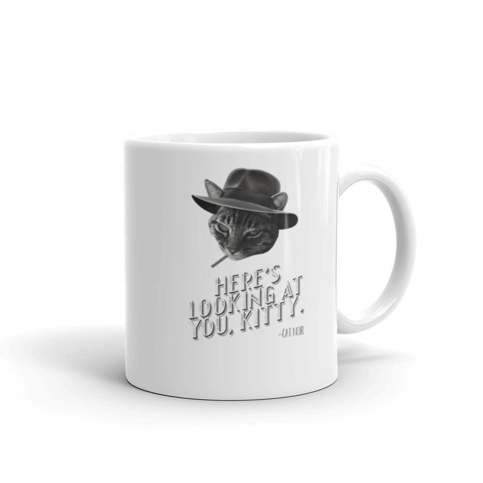 Here's Looking at You, Kitty Novelty Film Noir Cat Themed Mug - The Japan Shop