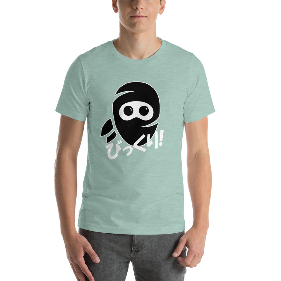 Surprised Ninja Bikkuri in Japanese Shirt Short-Sleeve Unisex T-Shirt - The Japan Shop