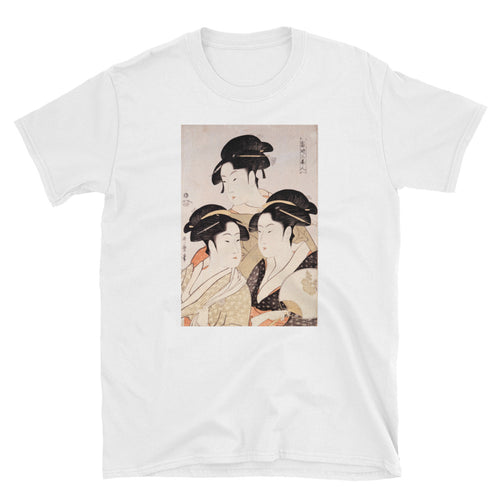 Utamaro Ukiyoe Japanese Art Three Bijin Short-Sleeve Unisex T-Shirt - The Japan Shop