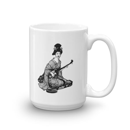 Japanese Beautiful Geisha Bijin Playing Shamisen Music Mug - The Japan Shop