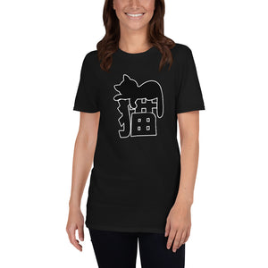 Neko Cat Sleeping on Japanese Kanji for Cat Short-Sleeve Unisex T-Shirt