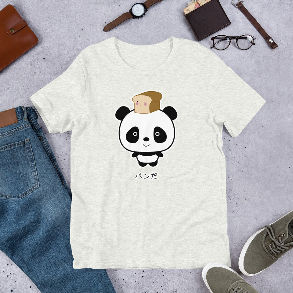 Cute and Kawaii Panda with Bread Pan Da! in Japanese Oyaji Gyagu Short-Sleeve Unisex T-Shirt - The Japan Shop