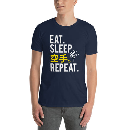 Eat Sleep Karate in Japanese and Repeat Funny Martial Arts Short-Sleeve Unisex T-Shirt - The Japan Shop