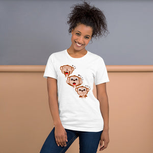 Sanzaru The Three Wise Monkeys in Japanese Short-Sleeve Unisex T-Shirt