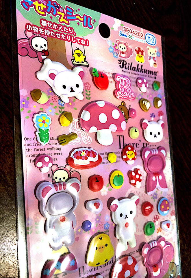San-x Rilakkuma Bubble Sticker Sheet Mushroom Theme