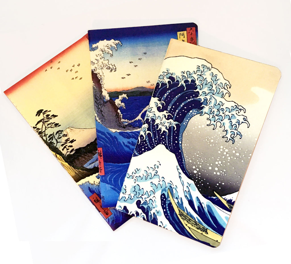 "Set of 3 100 page Ukiyoe Themed 8.25"" x 5"" Pocket Memo Set - The Japan Shop"