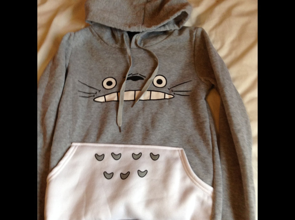 Novelty Totoro Cartoon Printed Long-sleeved Hooded Pullover Sweater Coat - The Japan Shop