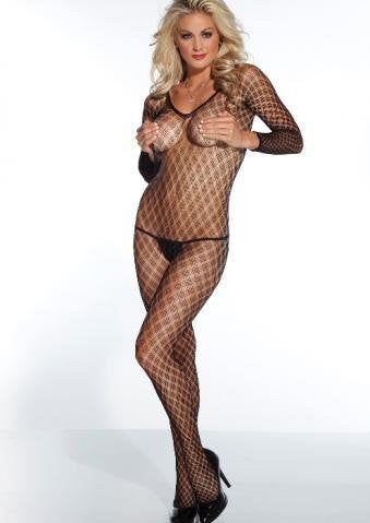 1 Piece Long Sleeved Multi Fence Net Bodystocking-Black