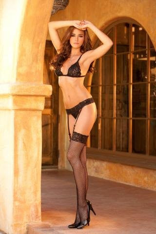 Black Lace Bra with Garter Belt and Fishnet Set