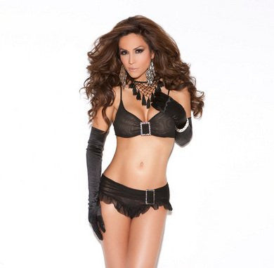 2 Piece Mesh Top And Skirt Set - Black - One Size