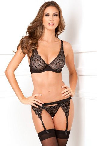 3 Piece Lux Lace Lurex Garter And Thong Set - Black - Small/Medium