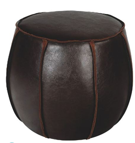 Chocolate Leather Pouf