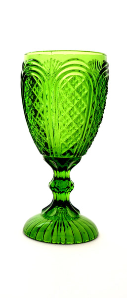 Carousel Olive Goblet 11oz Glass