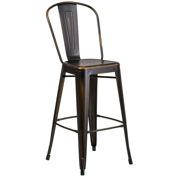 Distressed Copper Barstool w/ Back