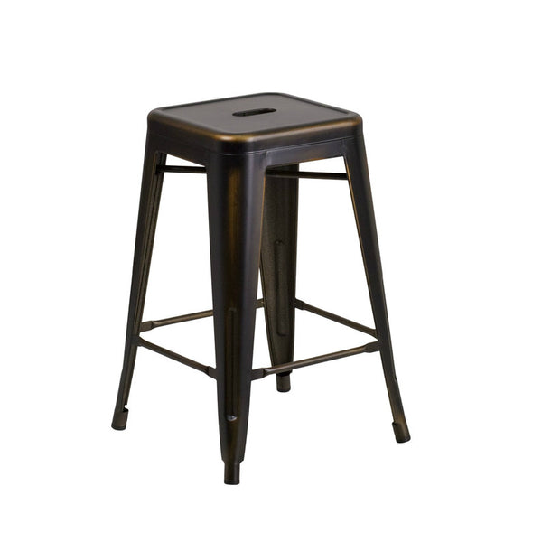 Distressed Copper Barstool