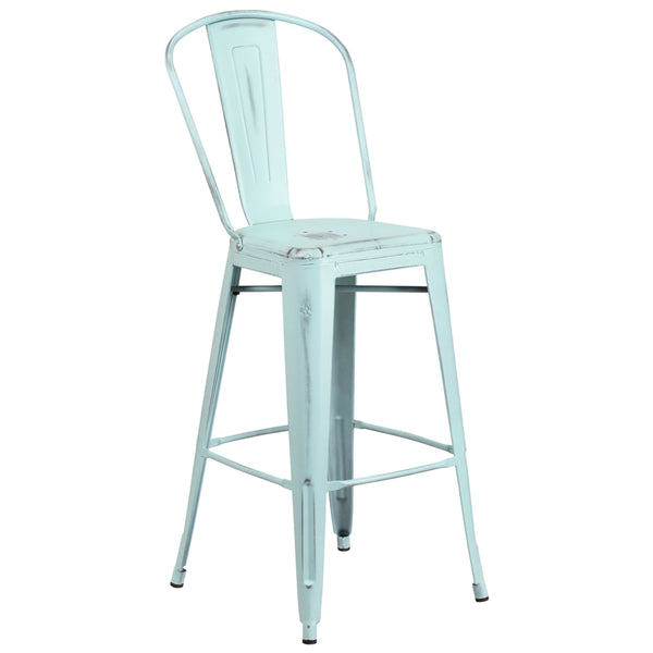Distressed Blue Barstool w/ Back