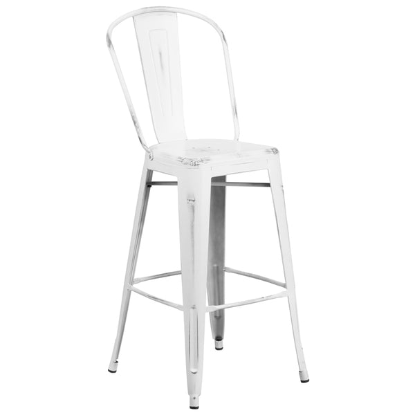 Distressed White Barstool w/ Back