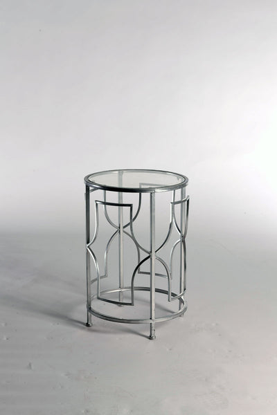 Round Silver Side Table With Glass Top