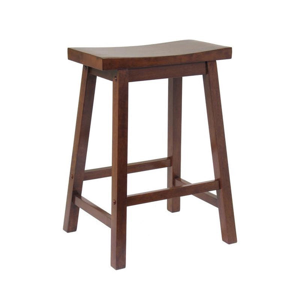 Rustic Walnut Saddle Barstool