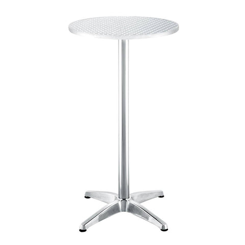 Stand-Up Brushed Aluminum Top Cocktail Table