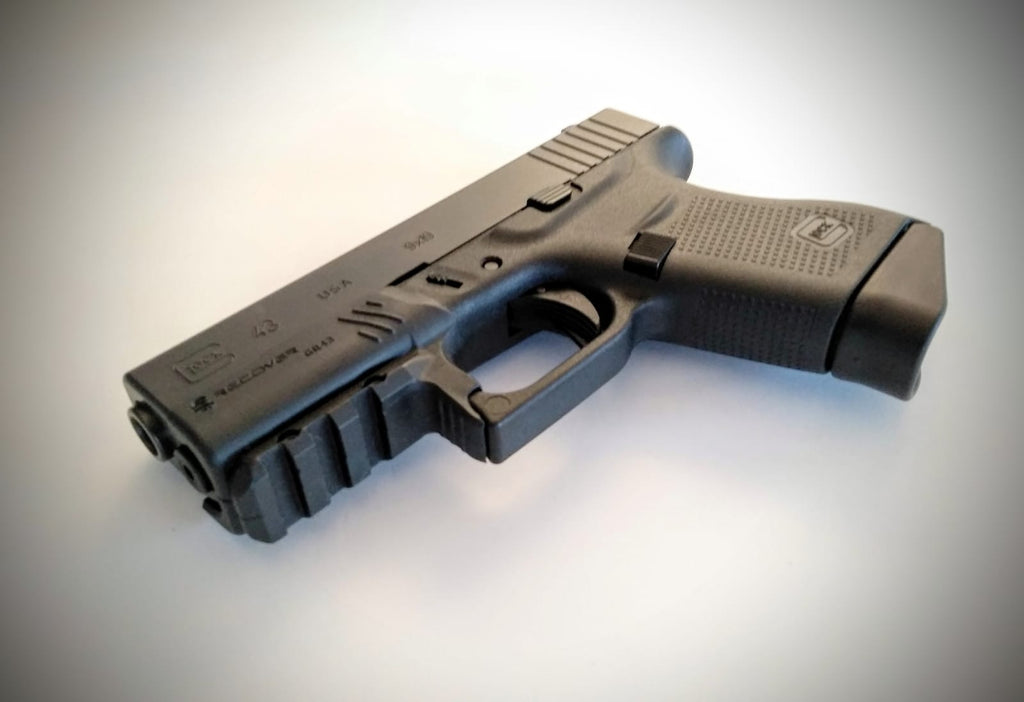Upgrade Pack for the Glock 43: GCH43 Charging Handle + MC43 Magazine Clip  With Finger Extension + GR43 Rail Adapter