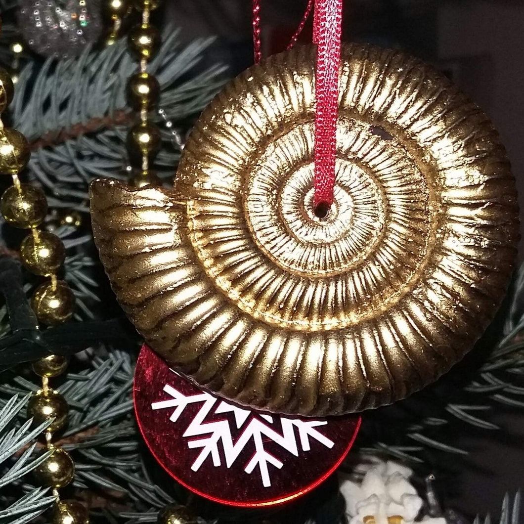 Handmade ammonite Christmas decoration