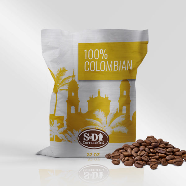 100% Colombian Supreme Whole Bean Coffee, 32oz (2lb)-12ct-S&D Coffee & Tea
