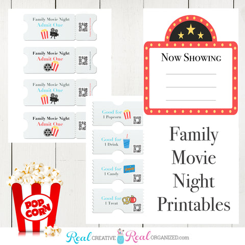 At Home Movie Night Printable for a DIY Family Movie Night Idea