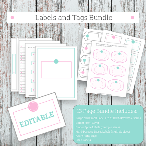 Labels and Tags Bundle - Blue and Pink