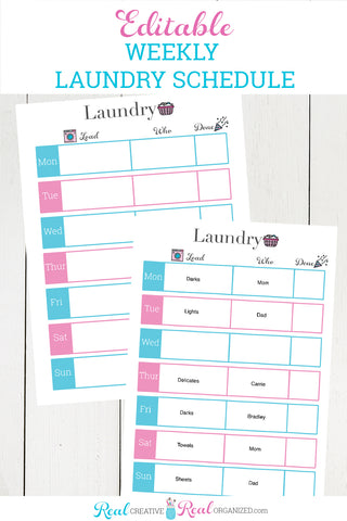 Printable Laundry Schedule