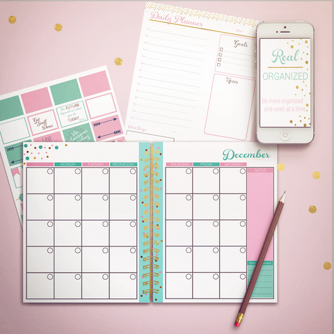 Printable Calendar - Monthly & Daily Planning - Pink