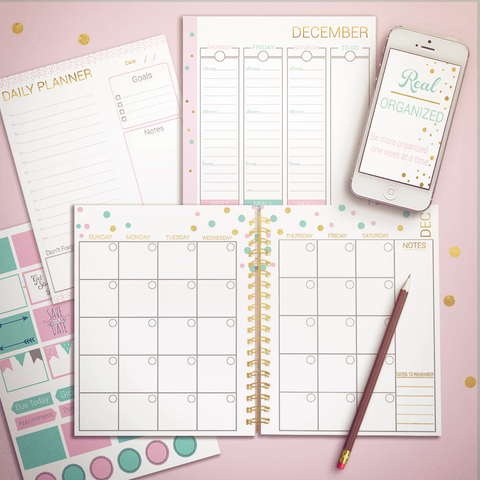 Real Organized Undated Printable Calendar - Gold