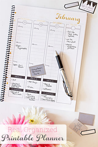 2017 Real Organized Printable Calendar - Black