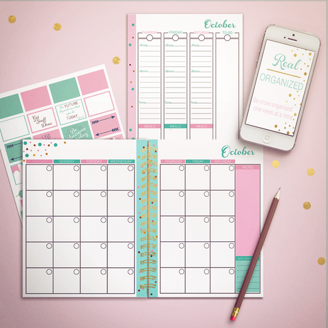 Printable Calendar – Monthly & Weekly Planning – Pink