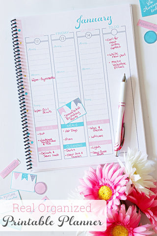 2017 Real Organized Printable Calendar - Pink