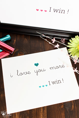 I Love You More, I Win Wall Art Craft Kit - Blue 11x14