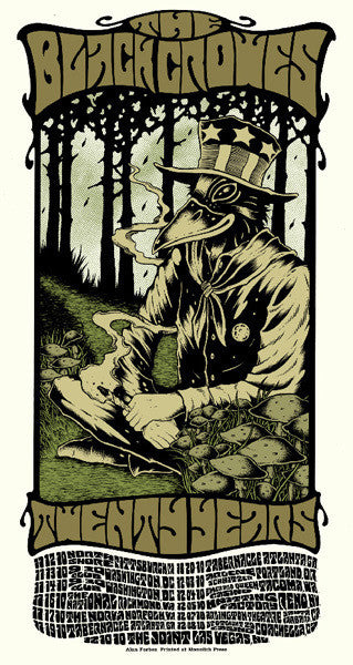 THE BLACK CROWES - Tour 2010 by Alan Forbes (11/12/10 - 12/10/10) (handbill)