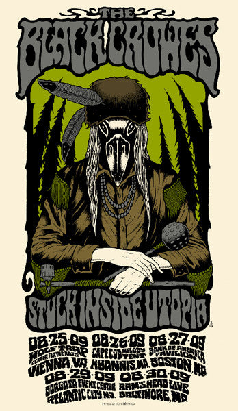 THE BLACK CROWES - Tour 2009 by Alan Forbes (8/25/09 - 8/30/09) (handbill)