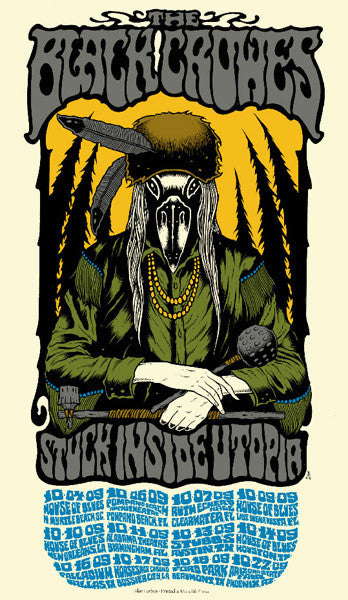 THE BLACK CROWES - Tour 2009 by Alan Forbes (10/4/09 - 10/22/09) (handbill)