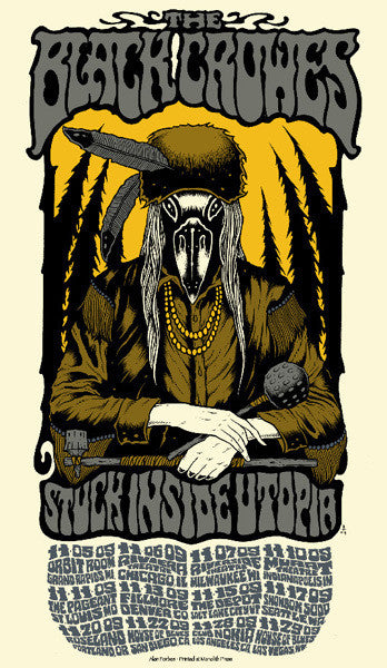 THE BLACK CROWES - Tour 2009 by Alan Forbes (11/5/09 - 11/29/09) (handbill)